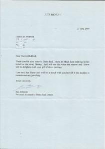 harriet bedford letter from judi dench