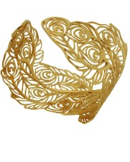 Peacock bangle in 18ct yellow gold vermeil