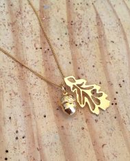 18ct gold vermeil oak and acorn pendant by harriet bedford